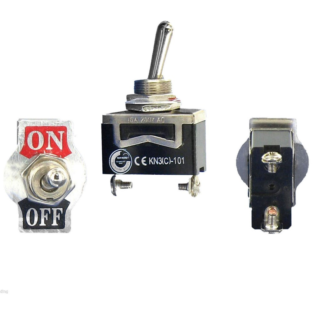1pcs Black Heavy Duty SPST 2 Terminal ON OFF Toggle Switch Waterproof Cap VE185 P in Switches from Lights Lighting