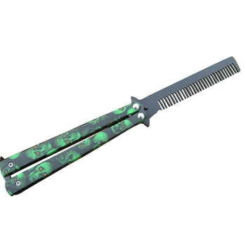 Green Hairdresser Stainless Steel Butterfly Training Combs Vintage Skeleton Folding Knife Practice Hair Brushes Salon Tools цена 2017