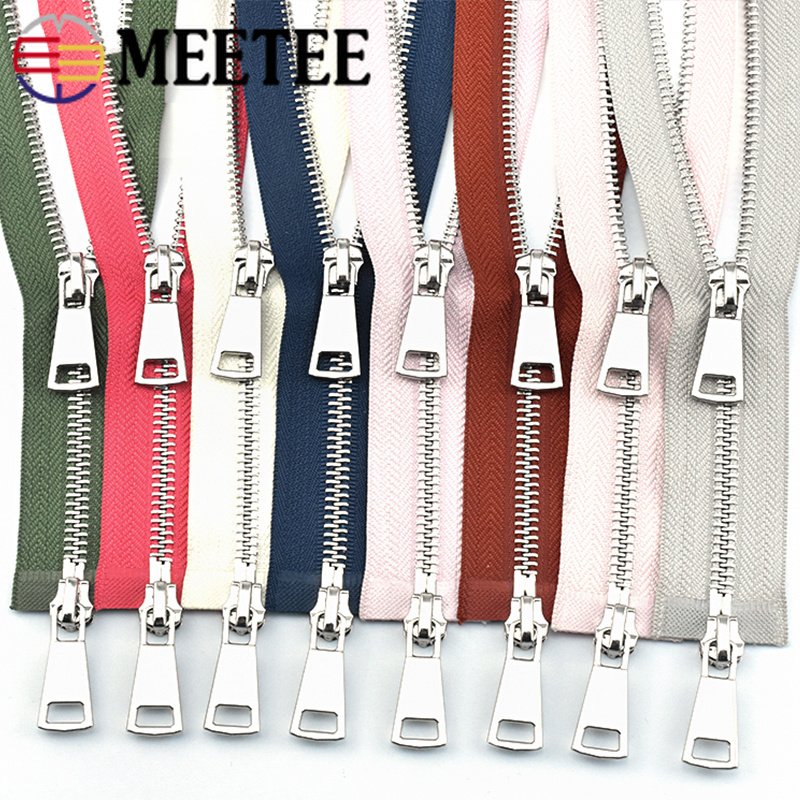 Meetee 120cm 5# Metal Zippers Double Slider Open End Zip DIY Sewing Tools Down Jacket Coat Clothing Tailor Repair Accessories