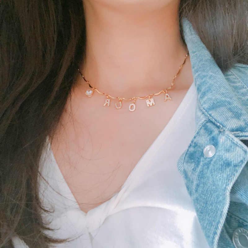 Yoiumit チャームカスタム名ネックレスチョーカー手紙ジルコンネックレス女性ガールゴールドシルバー色パーソナライズされたジュエリー