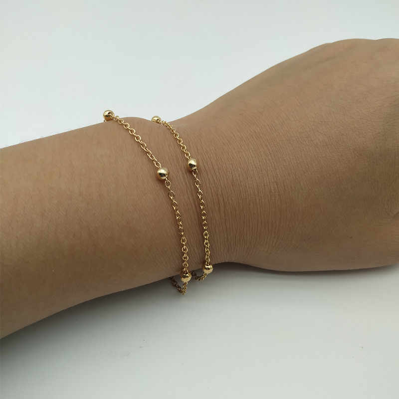 2 Pcs/lot Baru Sederhana Pesona Gelang Gelang Emas Warna Perak Kecil Cinta Hati dan Gelang Perhiasan Dropshipping