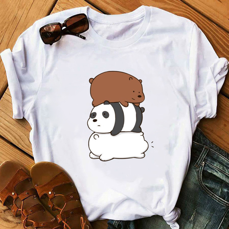 2020 Animal Printed T-shirt Camiseta Mujer Vogue Tshirt Tops Bare Bears Funny T Shirts Women Clothes Couple Clothes