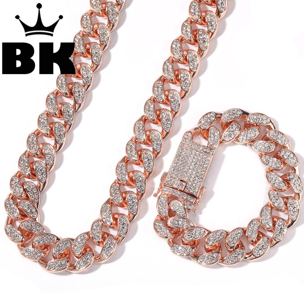 Chain Gold Bracelet-Set Silver Necklace Crystal Miami Cuban HIPHOP Iced-Out KING THE