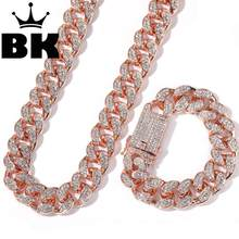 2 Cm Hiphop Goud Kleur Iced Out Crystal Miami Cubaanse Ketting Goud Zilver Ketting & Armband Set Hot Selling De hiphop Koning(China)
