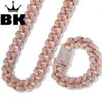 2cm hiphop ouro cor iced para fora cristal miami cubana corrente ouro prata colar & pulseira conjunto venda quente o rei hiphop