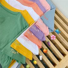 Candy Color Tshirt Cotton Women Embroidery Monday to Sunday Heart Cute T shirt Basic Top Girl School Outfit Kawaii Dropshipping