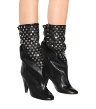 Lady Punk Metal Rivets Studs Martin Boots Black Leather Spike Heels Pointed Toe Female Mid Calf Boots Slip On Bottine Zapatos(China)