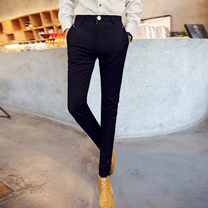Spring Fella Men Skinny Casual Pants Men's Korean-style Slim Women's Suit Pants Men's Small Suit Pants Hair Stylist Pants Fashio