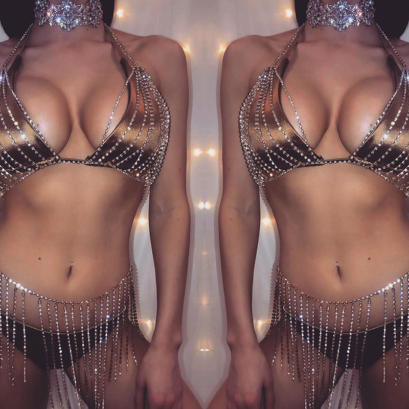 Gold Silver Two 2 Piece <font><b>Set</b></font> Halter Hollow Out Low Cut Bra Crop <font><b>Top</b></font> Hot Metal <font><b>Tassel</b></font> <font><b>Skirt</b></font> Rave Festival Sexy Two Piece Outfits image