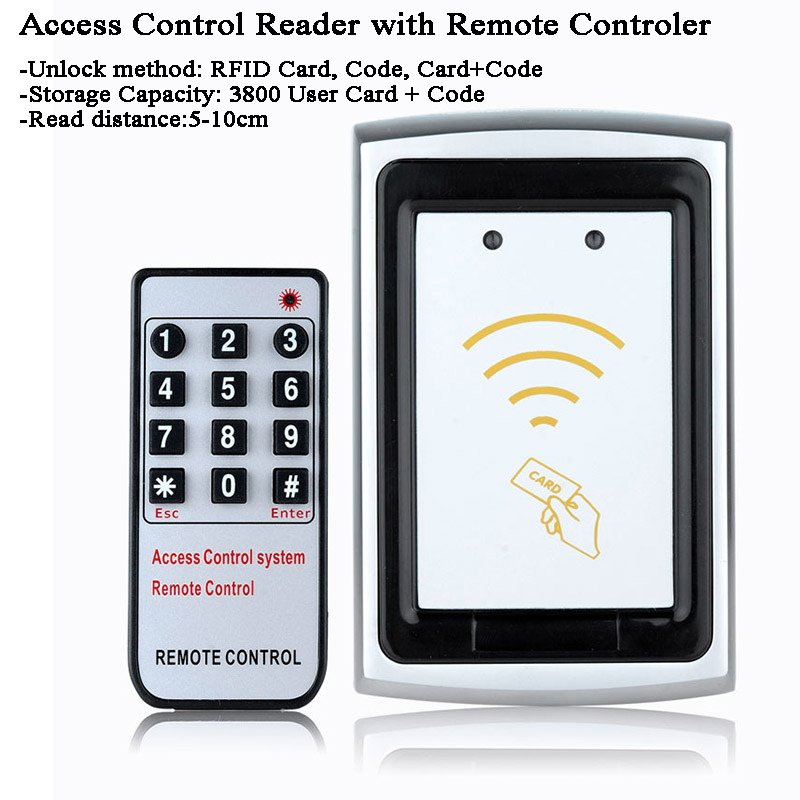 12V Outdoor Metal Gate Opener RFID Card Reader Door Lock Data Copy Remote Control/Code/Password Door Switch Laboratory/Factory