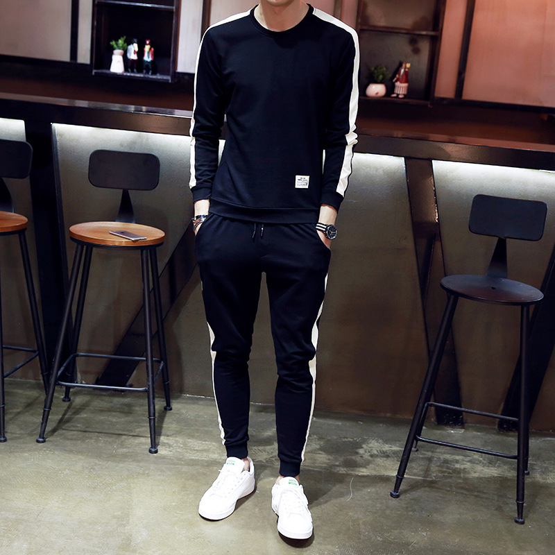 2017 Autumn Clothing New Style MEN'S Hoodie Sports Set Korean-style Trend Contrast Color Edge Casual Handsome Youth Harem Pants