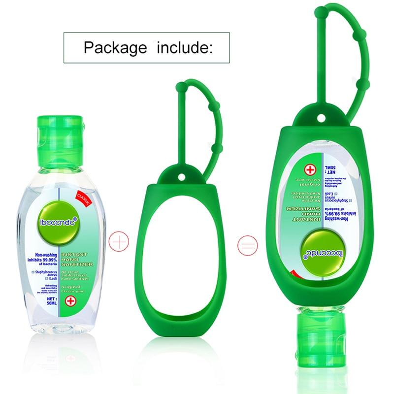 50ml Travel Portable Hand Sanitizer Gel Moisturizing Liquid Disposable No Clean Antibacterial Hand Sanitizer Silicone Holder