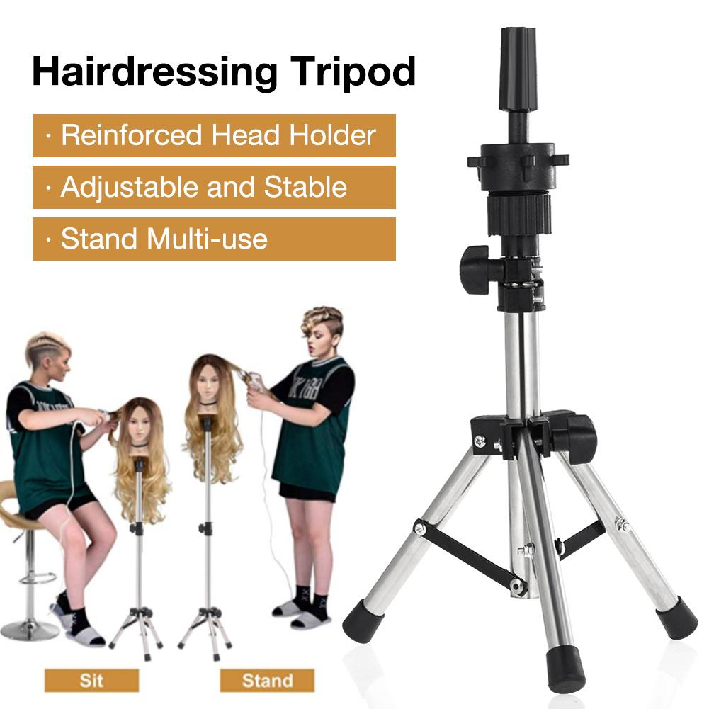 Adjustable Mini Wig Stand Hairdressing Tripod Hairdresser Training Mannequin Head Holder Clamp False Head Mold Stand Hair Wig #