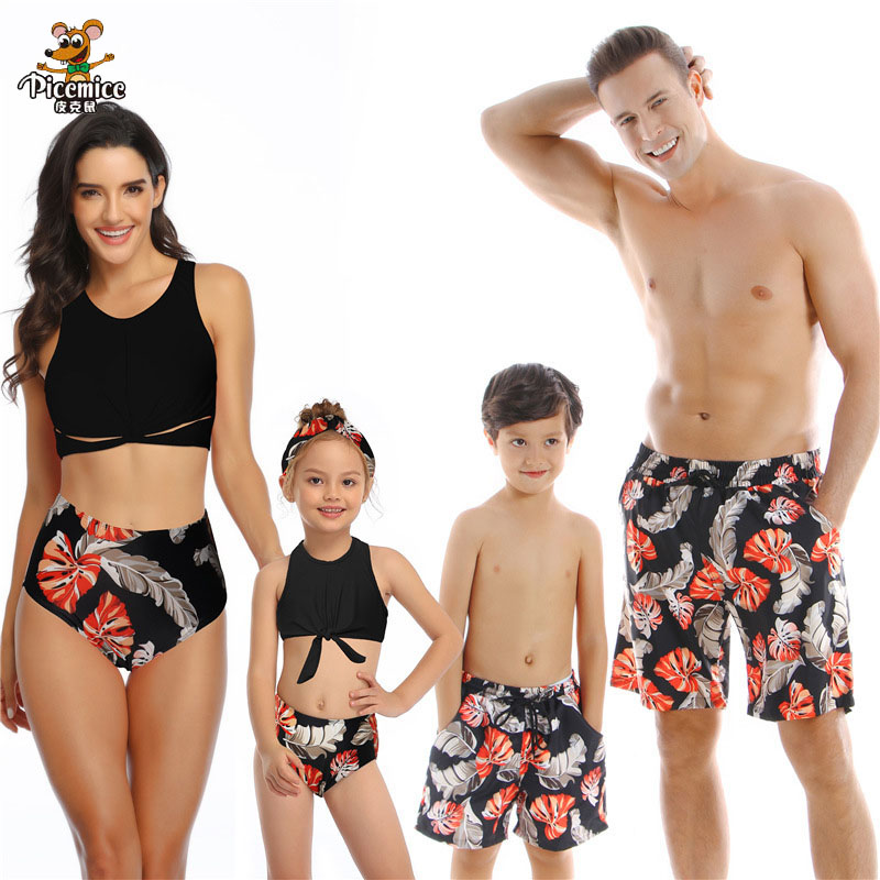 Dad Son Beach Shorts Swimwear Bath Swimsuits Family Look Bikini Mommy And Me Clothes Mom And Daughter Matching Dresses Outfits