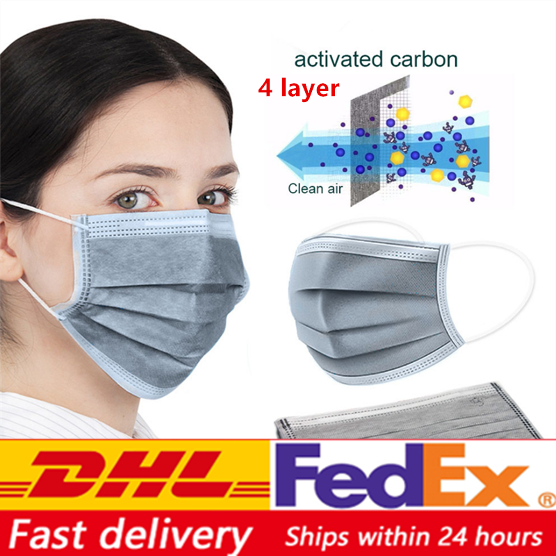 In Stock 4 Layers Disposable Activated Carbon Masks  3 Layer Blue Masks Anti Formaldehyde Bad Smell Mouth Face Masks