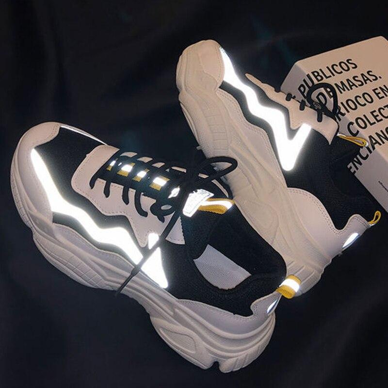 Zapatillas de deporte gruesas con cuña reflectantes para mujer, cómodas zapatillas de tenis con cordones SANDALIAS ARMONIAS PLATAFORMA