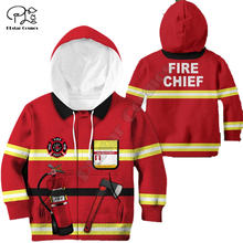 Firefighter customize your name 3d printed hoodies kids pullover