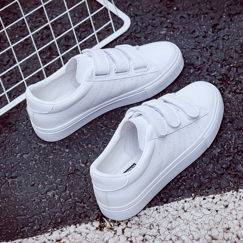 Shoes Woman New Fashion Women Shoes Casual High Platform Hole PU Leather Striped Simple Women Casual White  Shoes Sneakers