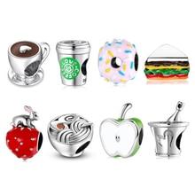 Новинка, модные бусины из стерлингового серебра 925 пробы в виде сердца, чашки кофе, подходят к оригинальному браслету JIUHAO, браслеты-талисман...