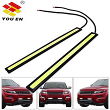 YOUEN Car styling Ultra Bright 12W LED Daytime Running lights DC 12V 17cm 100% Waterproof Auto DRL COB Driving Fog lamp