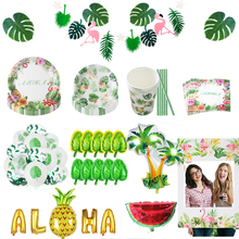 flamingo beach party green tropical palm monstera leaf disposable parties tableware set aloha wedding decorations birthday party flamingo party tableware palm leaf pineapple napkins balloon garlands tropical hawaiian party favors happy birthday decorations