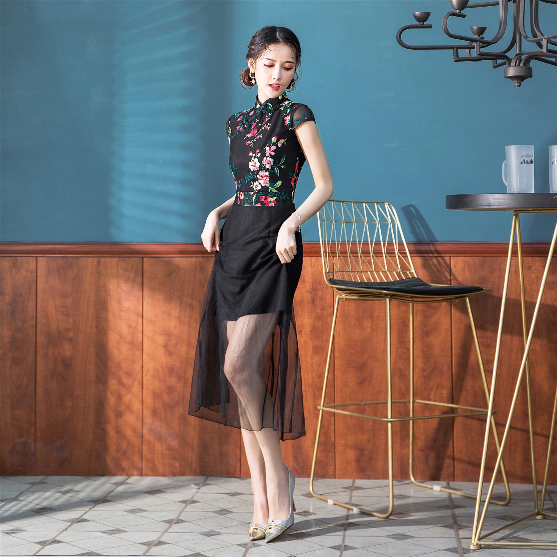Open Rain 2019 Spring Origional New Style Embroidered Few Sha A- Line Skirt Black GIRL'S Cheongsam Nian Qing Kuan Cheongsam