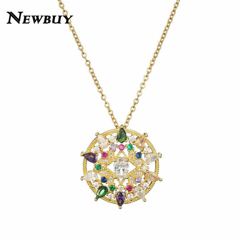 Newbuy luxo cristal zircônia cúbica jóias 2020 moda redonda pingente colar para feminino menina presente de jóias de casamento