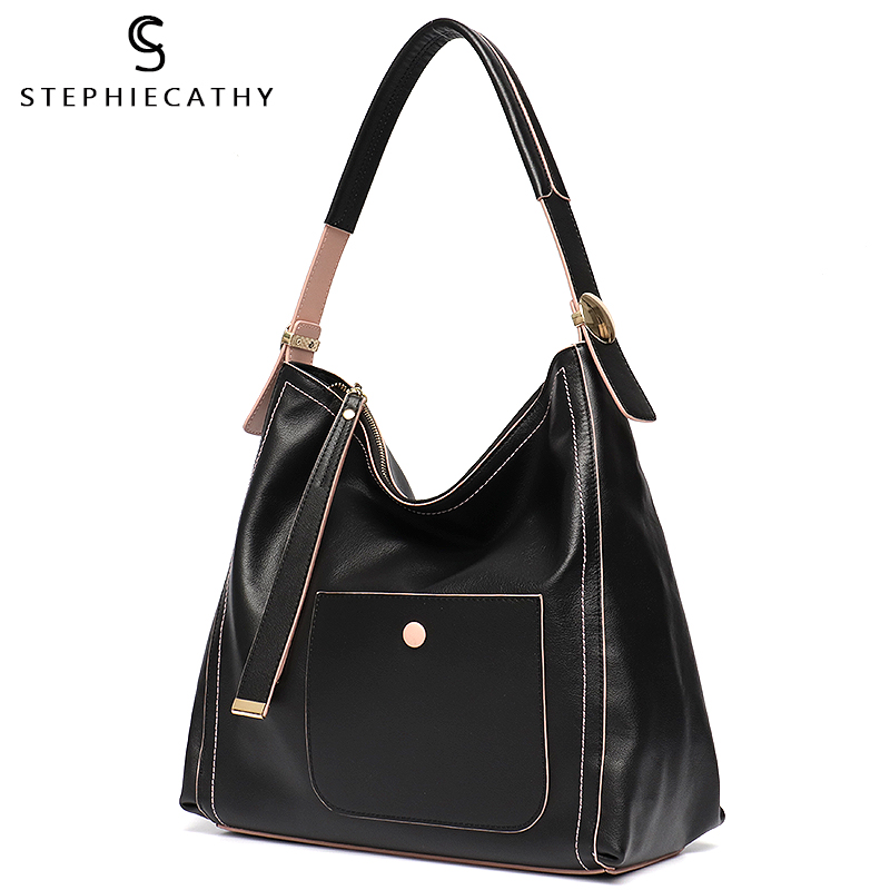 SC Brand Handbags Genuine Leather Shoulder Bags for Womans Large Luxury Fashion Hobo Bags Girls Soft