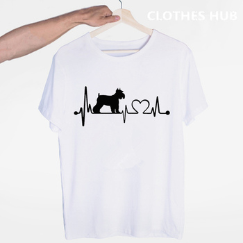 I Love My Dog Schnauzer Heartbeat Animal Lover T-shirt O-Neck Short Sleeves Summer Casual Fashion Unisex Men And Women Tshirt post malone hip hop t shirt o neck short sleeves summer casual fashion unisex men and women tshirt