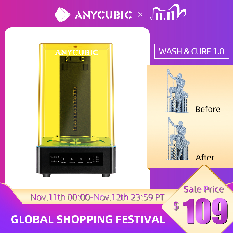 Anycubic Wash And Cure Machine 3D Printer 2-in-1 UV Resin curing for 3d Resin printer cure models im