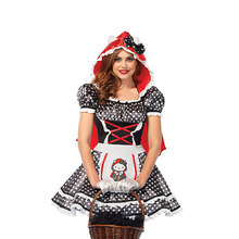 Kawaii Wanita Little Red Riding Hood Kostum Dewasa Halloween Cosplay Gaun Dongeng Cosplay Fantasia Suit(China)