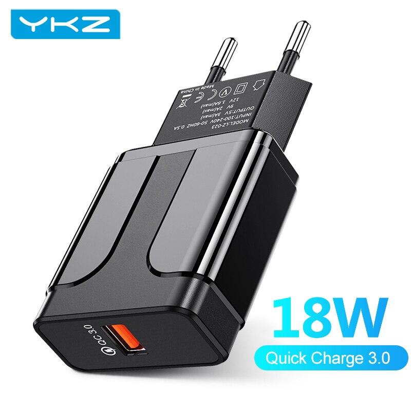 YKZ мобильный телефон зарядное устройство 3A быстрой зарядки 18 Вт QC3.0 USB зарядное устройство вилка европейского и американского дорожное наст...