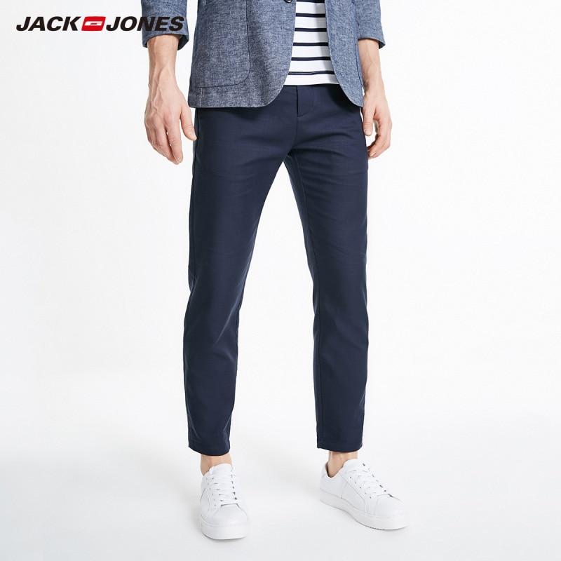JackJones Men's Slim Fit Smart Casual Ankle-length Basic Cotton Rolled Plaid Pants| 219214511