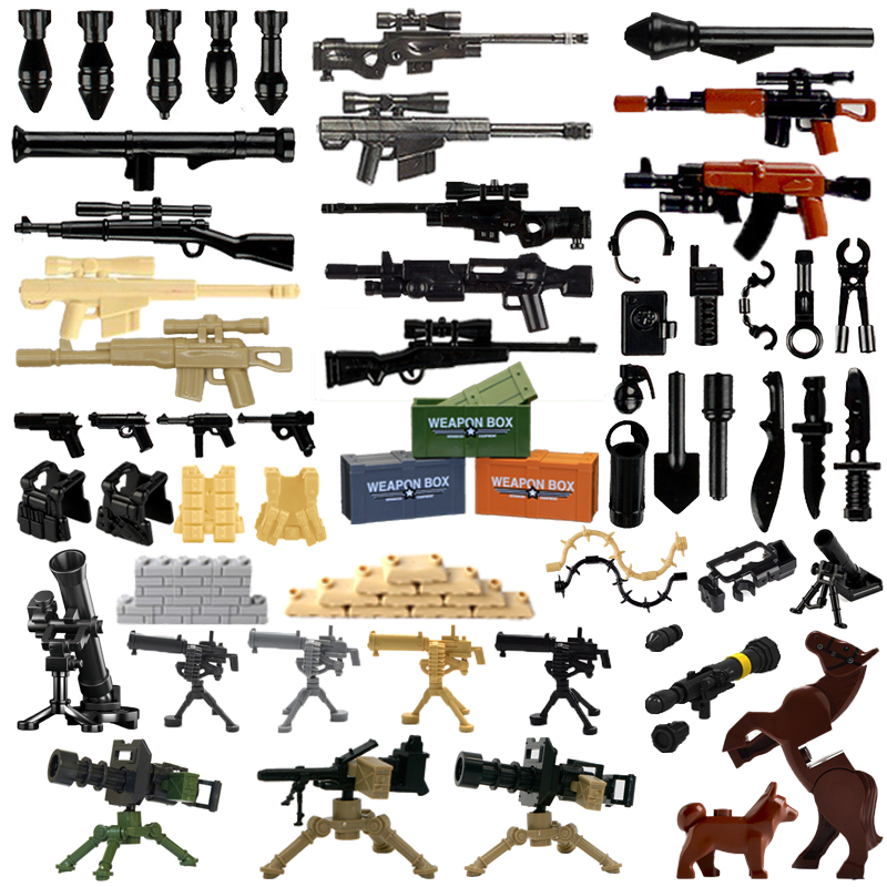 Bricks Military Weapon Pack Guns City Police Swat Team Soldier Accessory Base Box Figure Toys WW2 Army MOC Building Blocks Parts