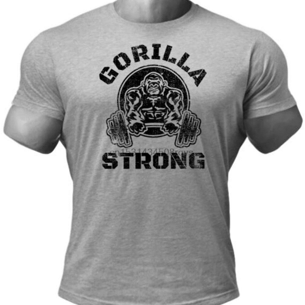 Masculino gorilla forte haltere halteres cinza t camisa gorilla camisa barbell camisa powerlifting camisa forte