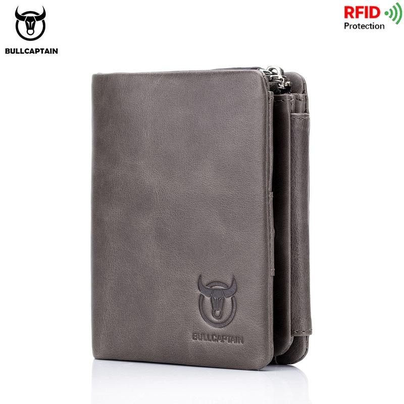 BULLCAPTAIN Brand Leather RFID Retro Wallet Men's Small Zipper Wallet Card Bag Men's Wallet Clutch