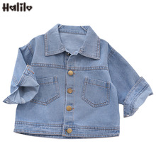 Halilo Infant Spring Jackets Cartoon Blue Denim Baby Girl Boy Outerwear Coats And Jackets Unisex Kids Clothes Boys Girls Tops cheap Fashion COTTON spandex Children REGULAR Turn-down Collar Outerwear Coats Full Fits true to size take your normal size