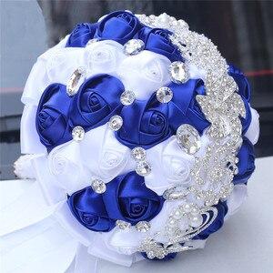 Image 5 - WifeLai 21cm גדול קריסטל כלה חתונה זר בעבודת יד רויאל כחול לבן סרט עלה חתונה זרי כלה Buque noiva W228