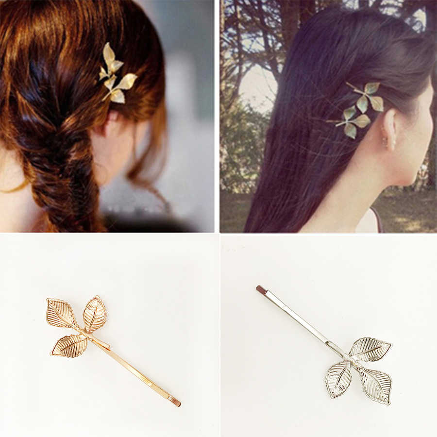 1 Pcs Fashion Three-leaf Metal Hair Clip for Women Elegant Korean Design Snap Barrette Stick Hairpin Hair Styling Accessories