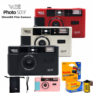 Image 1 - Vibe בציר רטרו 501F 35mm לשימוש חוזר שאינו חד פעמי סרט מצלמה שחור/אדום/שמפניה כסף/ורוד עם קודאק UltraMax 400 סרט
