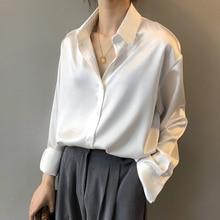 2020 Fashion Button Up Satin Silk Shirt Blouse Women Vintage White Long Sleeve Shirts Tops Ladies Elegant Korean Office Shirt