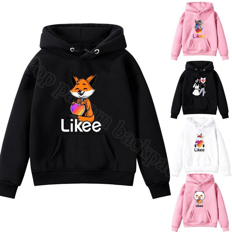 2020 NEW Kids Pullover Likee Video App Sweatshirt Children's Clothing Baby Boys Girls Hoodie Casual Tops Animal Fox Cat Unicorn