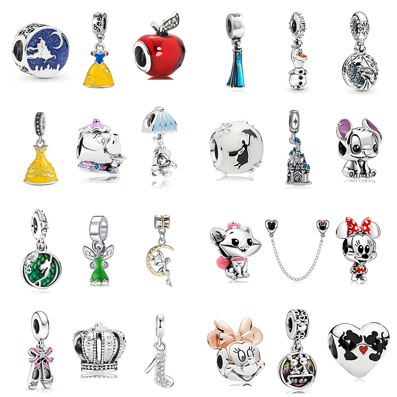 2020 New Original Alloy Bead Enamel Princess Dress Minnie Mickey Dangle Charm Fit Pandora Bracelet Bangle DIY Women Jewelry(China)