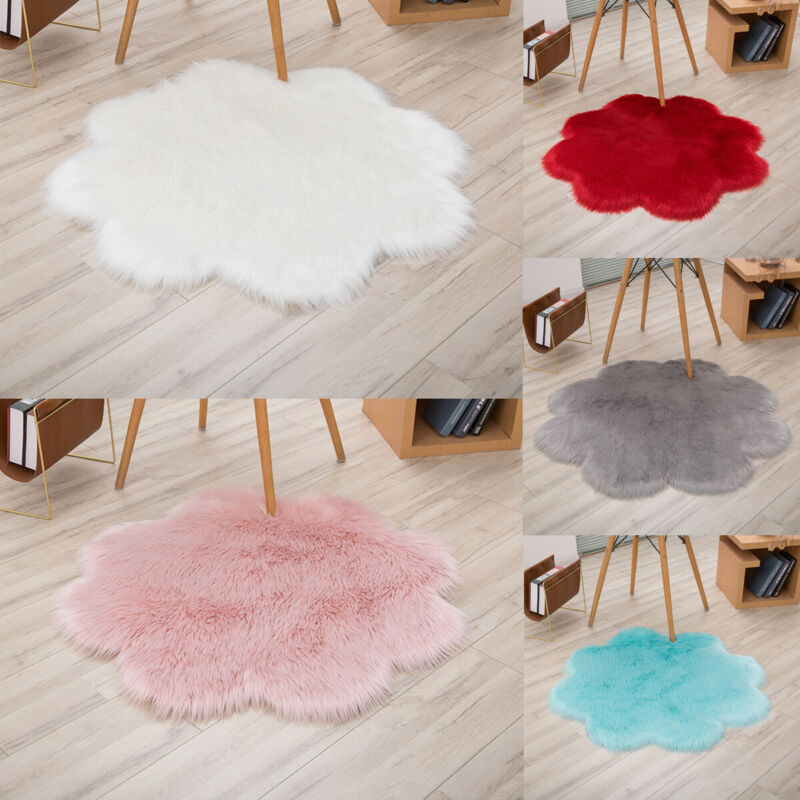 Flower Fluffy Rug Anti-Skid Shaggy Dining Room Bedroom Carpet Floor Comfortable Imitation Wool Plum-Shaped Rug