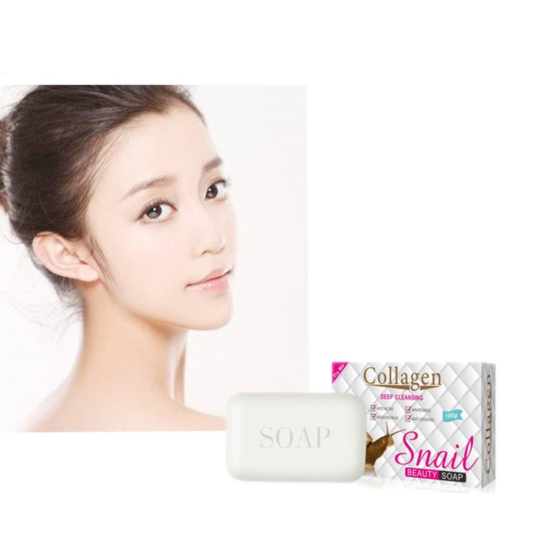 Anti-Acne Snail Collagen Facial Washing Soap Degreasing Bath Moisturizes Deep Skin Cleaning And Anti-Black Spot And Red Spot
