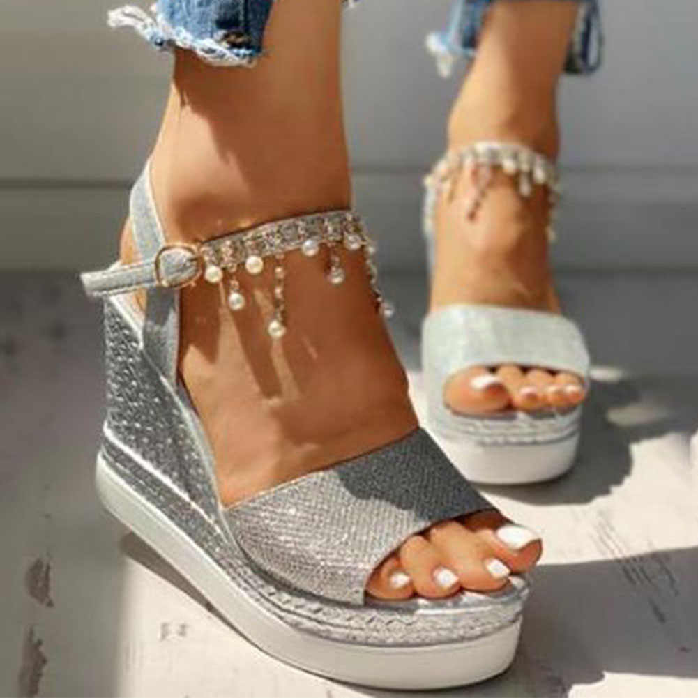 SARAIRIS Sepatu Hak Tinggi Leisure Platform Fashion Rantai Musim Panas Sandal Wanita Wedges Sepatu Wanita