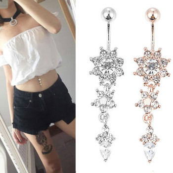 Crystal Belly Button Ring Barbell Dangle Pendant Body Piercing Nombril Ombligo Belly Button Buckle Men's Women's Body Jewelry 2