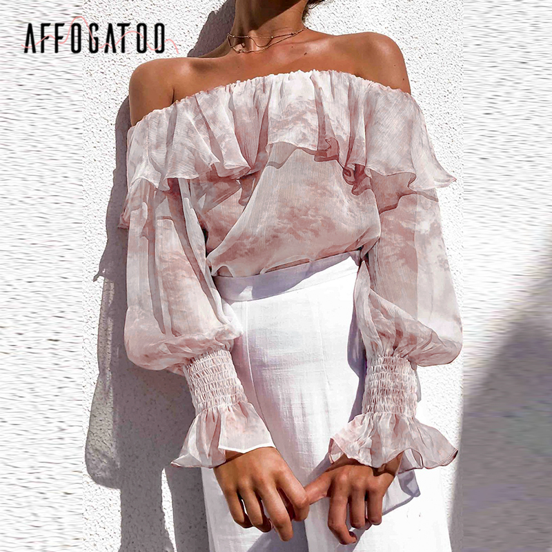 Affogatoo Sexy Off Shoulder Transparent Pink Blouse Tops Summer Women Elegant Ruffle Lantern Sleeve Fashion Holiday Shirt Ladies