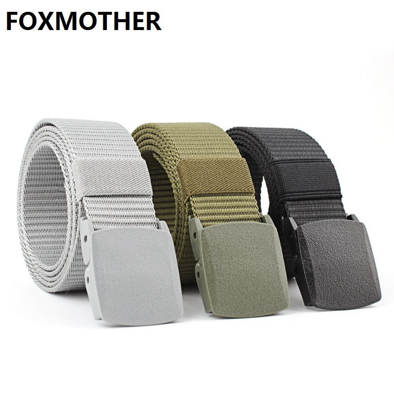 FOXMOTHER Black Grey Navy Canvas Belt Plastic Men Male Army Military Tactical Nylon Belts