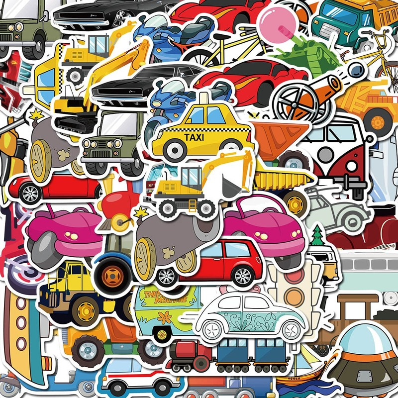 50Pcs Cars and Transportation Tools Stickers Laptop Scrapbooking Stickers for Skateboard for Kids Toys Waterproof Sticker